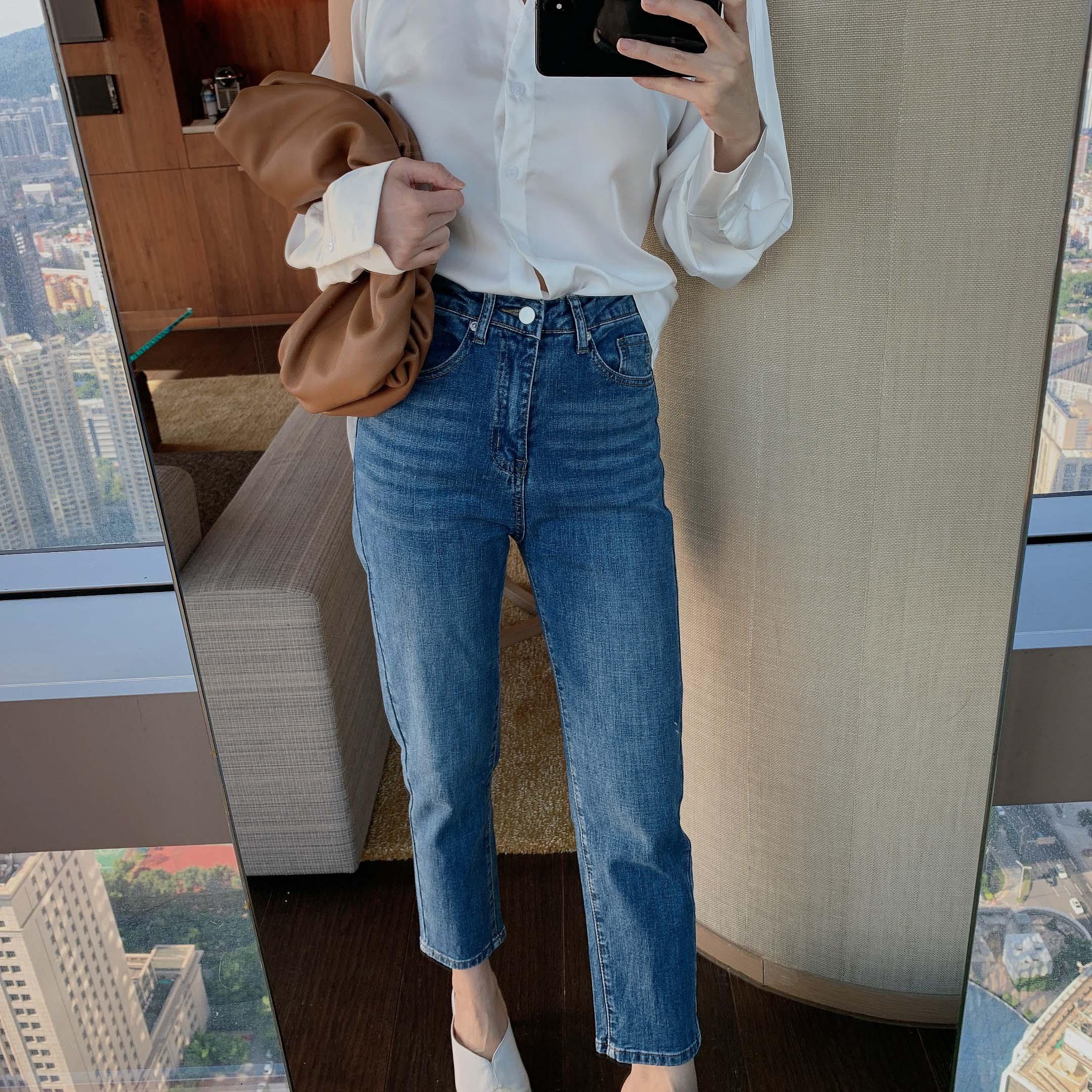 JMANSHOP 2020新款秋季新品褲王推薦直筒顯瘦牛仔褲休閑褲女