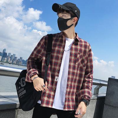2019春季港风格子长袖衬衫男韩版休闲衬衣A160-CS-801 P55 控价68