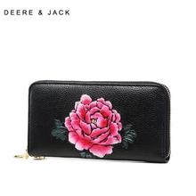 Three-dimensional flower bag with cowhide purse for mother and girl bag, national style leather embossed handbag, long mobile phone bag