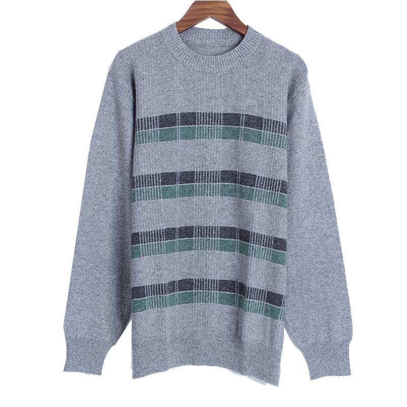 额尔尼曼鄂尔多斯市产羊绒衫男式圆领加厚休闲青年针织衫套头毛衣