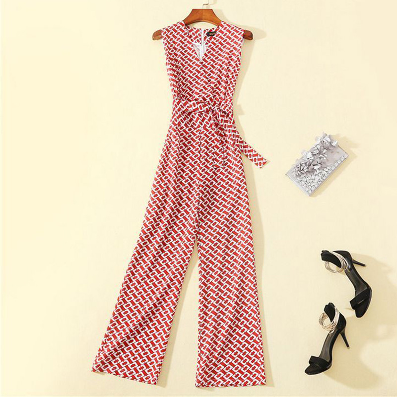 20 new style lady temperament sleeveless floral Raglan Jumpsuit with waistband temperament straight tube Jumpsuit with red printing