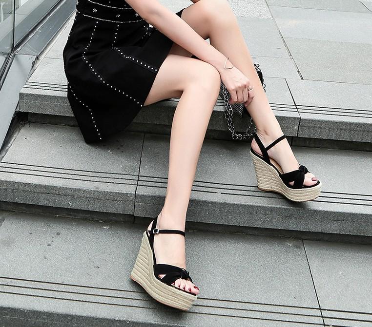 Summer new super high heel slope heel sandals womens shoes