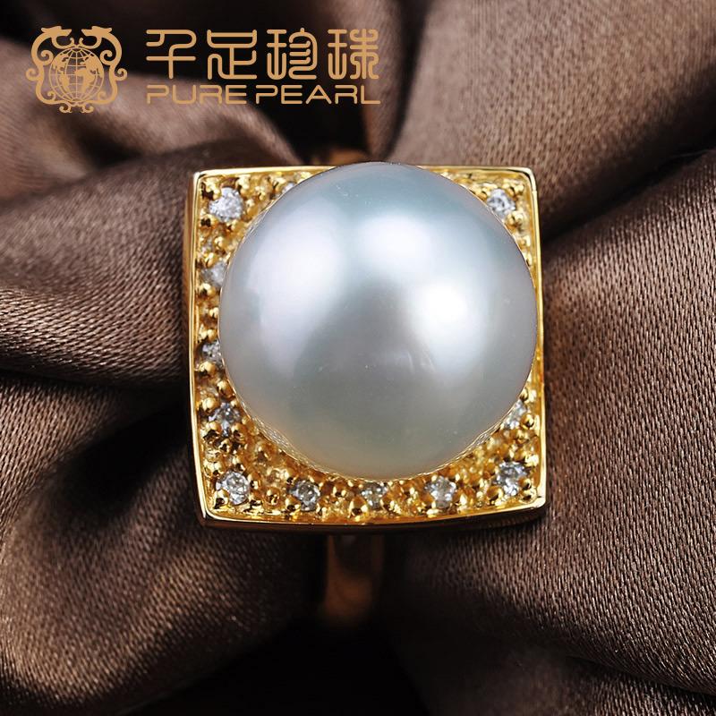千足珍珠 芷蔚 正圆强光11.5mm南洋海水白珍珠18K金镶钻戒指