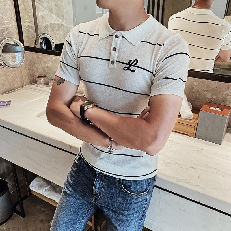 2020丅恤新款韩版潮流男士条纹上衣服 短袖polo衫t恤长袖夏装体恤