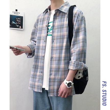 @方少男装 港风ins宽松百搭格子衬衫学生韩版外套休闲长袖衬衣潮
