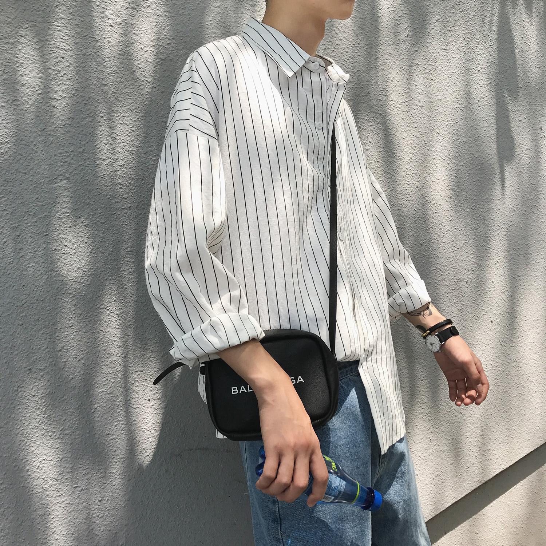 限时抢购@方少男装 港风秋季条纹长袖衬衫男韩版宽松薄款小清新衬衣外套潮