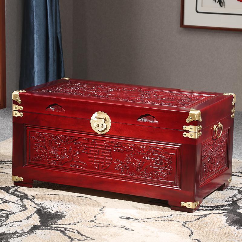 复古香樟木箱子字画储物箱收纳实木头结婚陪嫁妆储衣箱字画置物箱
