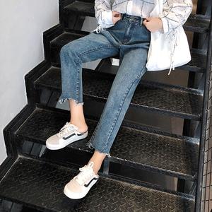 高腰牛仔裤女新款韩版显瘦港味直筒裤女宽松学生九分裤子