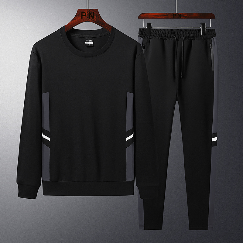 【辫子老板家】男天丝罗马棉卫衣套装/时尚拼接/口袋拉链/LT8855