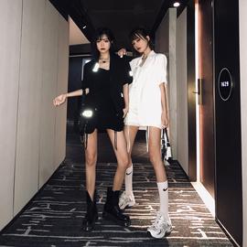 丽哥潮牌西装套装女2020年新款时尚休闲短裤+雪纺西服外套两件套