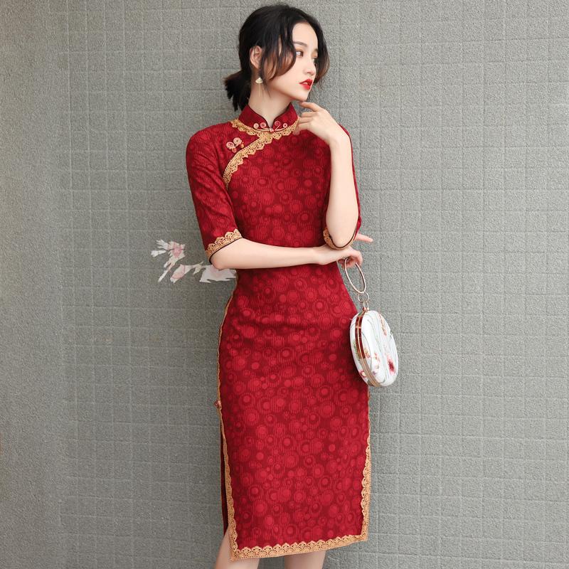 旗袍改良版年轻款少女中长款敬酒服(用5元券)