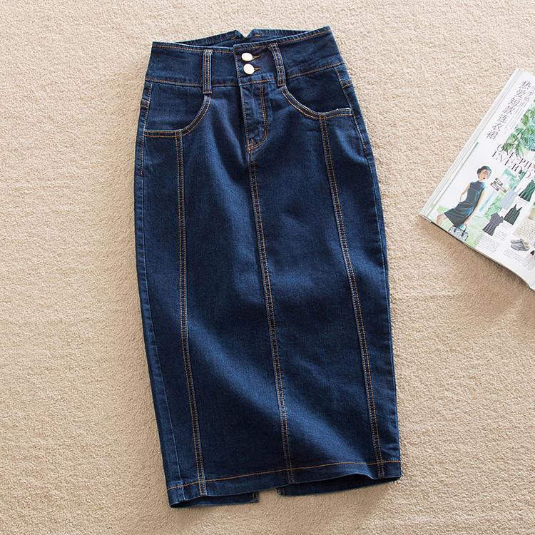 加大码牛仔铅笔裙半身裙女夏季2020新款中长款包臀花苞裙胖mm直筒