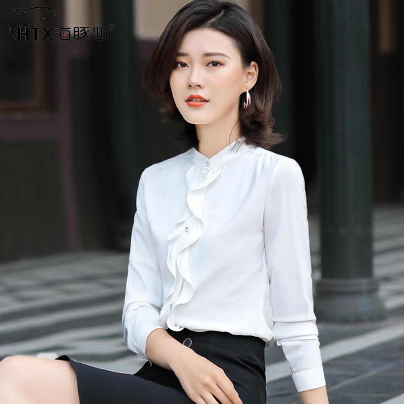 Professional shirt womens long sleeve slim fit spring 2020 new Ruffle shirt bottom coat womens thin white top