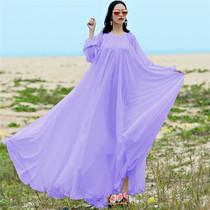 夏季女装加长雪纺连衣裙加超长款9米摆大码海边飘逸仙胖M80-180斤