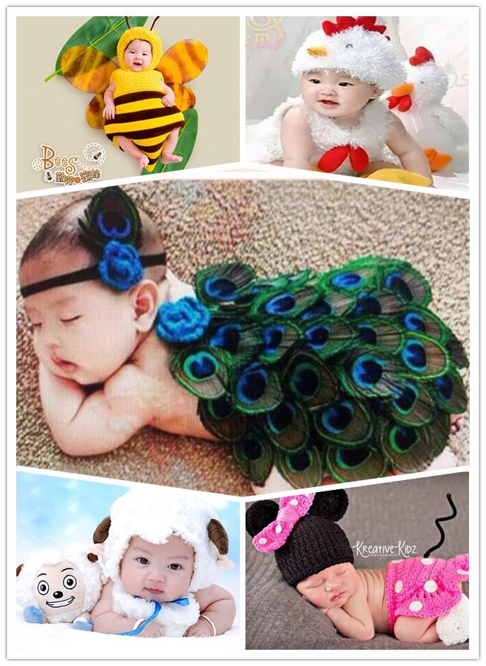 出租百日摄影服装 影楼宝宝拍照婴儿孔雀服饰 新生儿满月孔雀套装