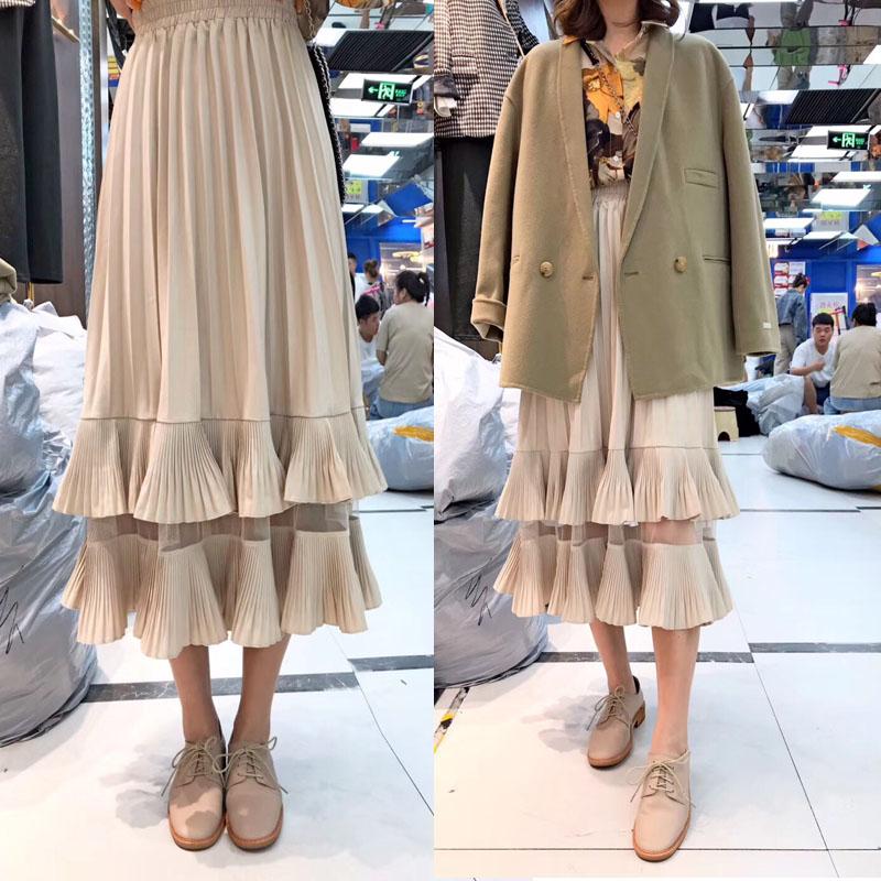 Cake skirt womens autumn and winter high waist medium length lotus leaf pleated skirt ins Korean temperament A-shaped large swing skirt