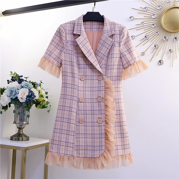 2021 summer new style Plaid Dress womens Ruffle stitching slim waist button fairy skirt