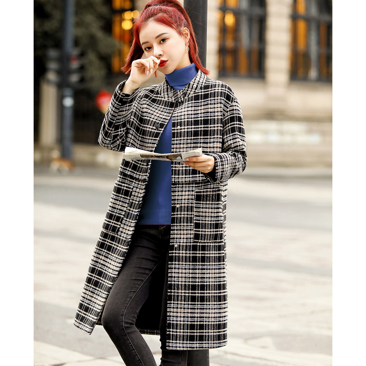 Mo Han Yimeis simple and fashionable Plaid cocoon shaped thin and versatile long coat