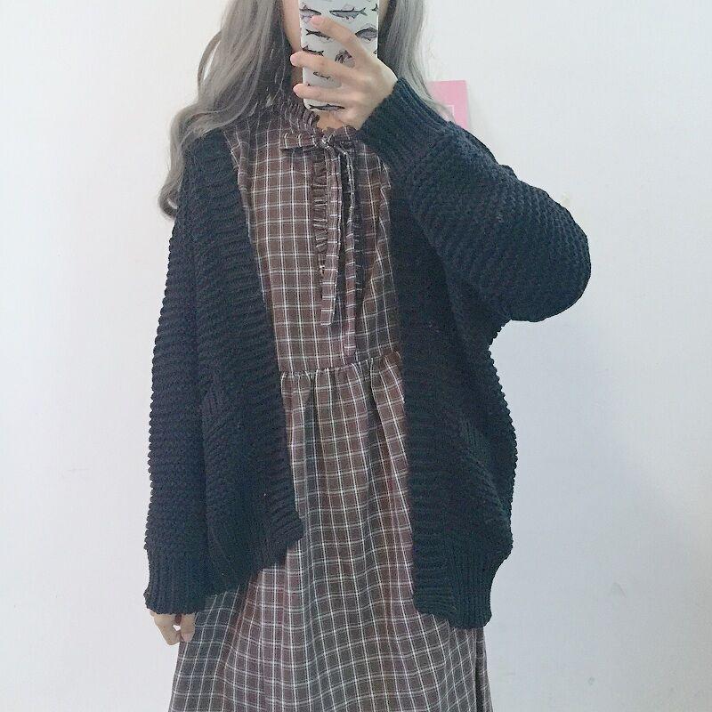秋装女2018新款韩版学生可爱裙子中长款格子打底长袖小清新连衣裙
