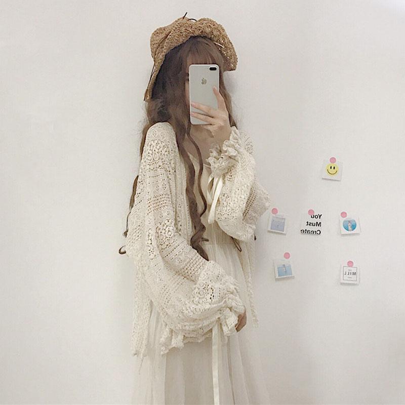 夏季女装韩版宽松中长款镂空雪纺蕾丝衫防晒衣长袖开衫外套上衣薄