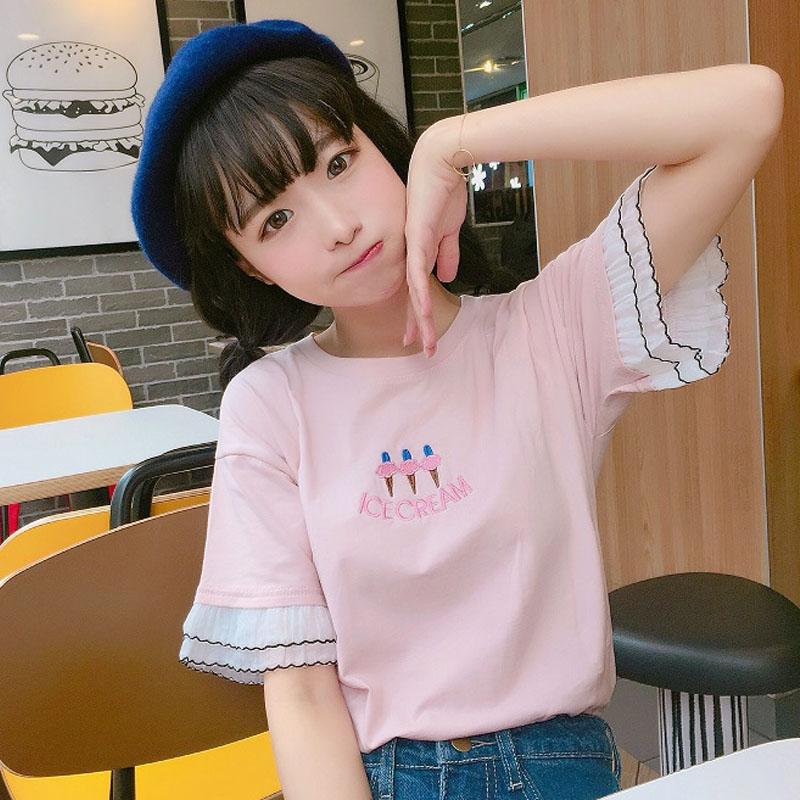 2018夏季新款小清新女装日系少女可爱刺绣韩版拼接短袖T恤上衣潮