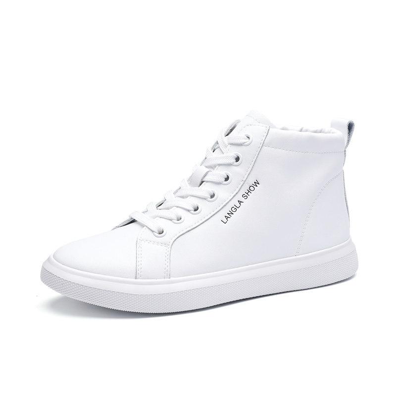 真皮小白鞋高帮鞋女2020新款潮韩版白色高腰板鞋女休闲运动旅游鞋