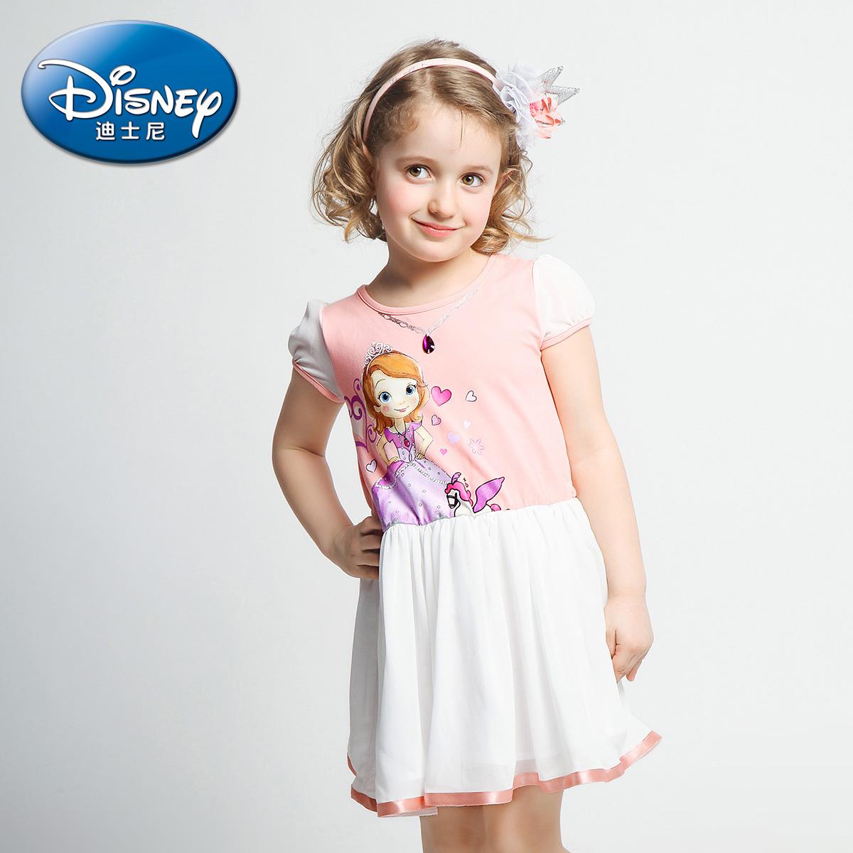 迪士尼 女童夏裝公主裙2016夏 兒童針織連衣裙中小童裙子