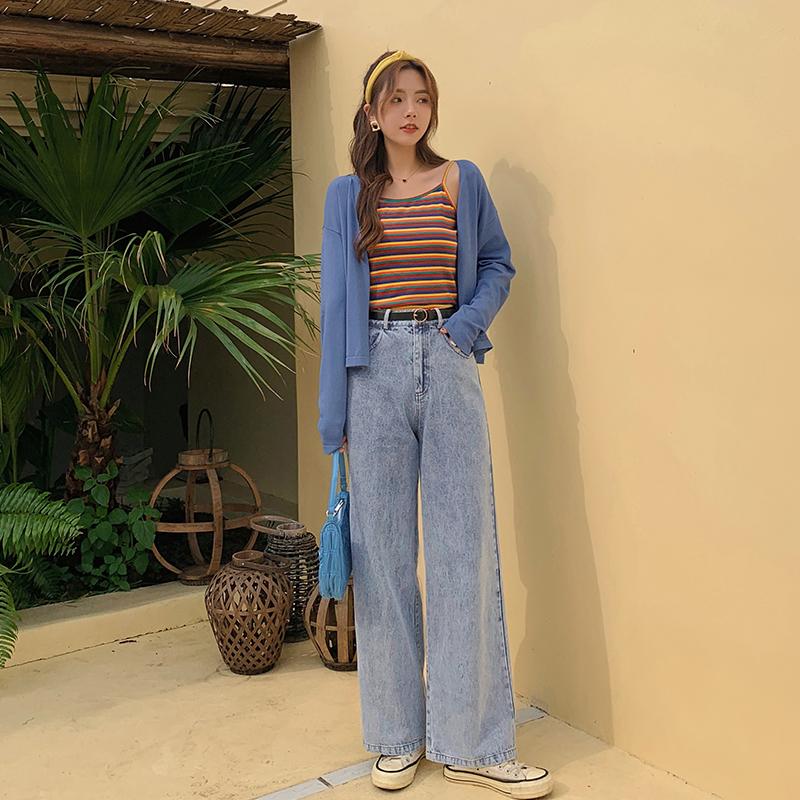 蓝语大码女装胖妹妹mm时尚休闲针织衫牛仔裤早秋新款显瘦三件套装
