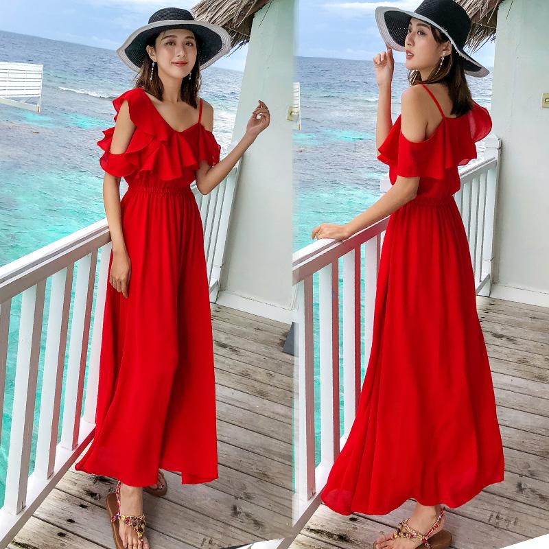 海滩裙长裙连衣裙女夏海边度假旅游三亚大红色沙滩裙2020新款超仙