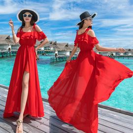 红色沙滩裙女夏气质2020新款显瘦雪纺海边度假三亚超仙连衣裙长裙