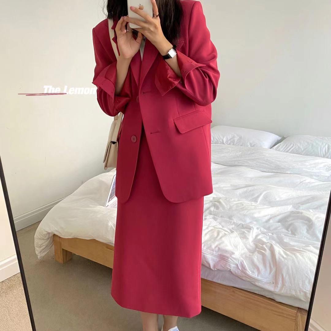 2021秋季THE LEMON新款韩版时尚简约西装外套女+百搭半身裙两件套