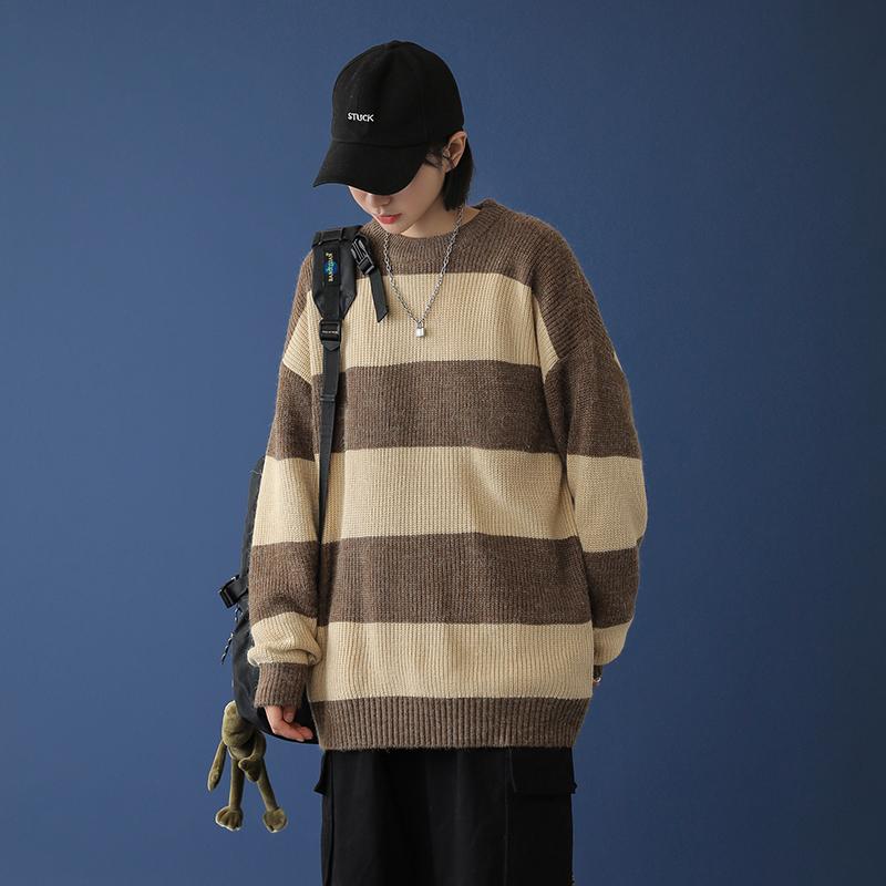 中性风 20秋冬条纹撞色休闲毛衣针织衫 M022-P65(限78)