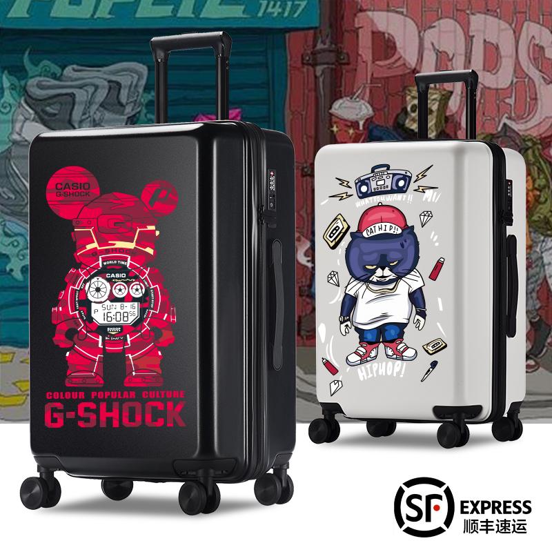 行李箱24寸网红男个性拉杆箱万向轮大学生旅行箱潮新款密码箱涂鸦