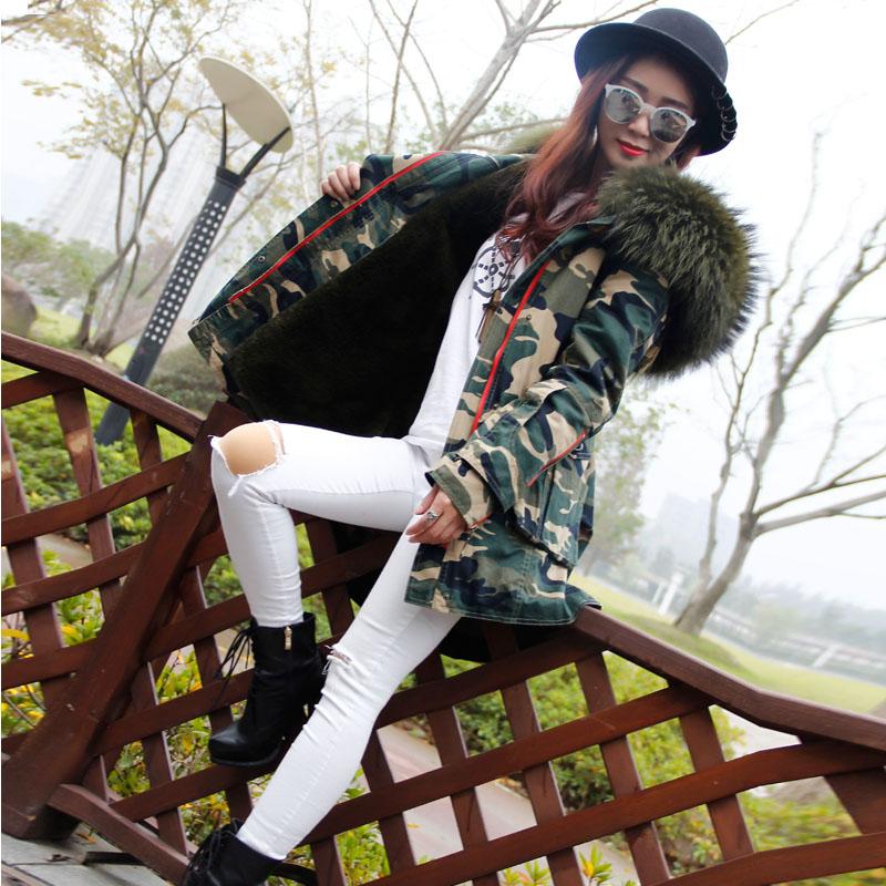 冬季新款貉子毛大毛领皮草外套收腰燕尾服迷彩棉衣毛皮派克大衣女
