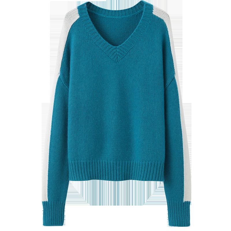 纯山羊绒衫女式V领时尚气质拼接撞色针织衫时尚个性宽松新款毛衣