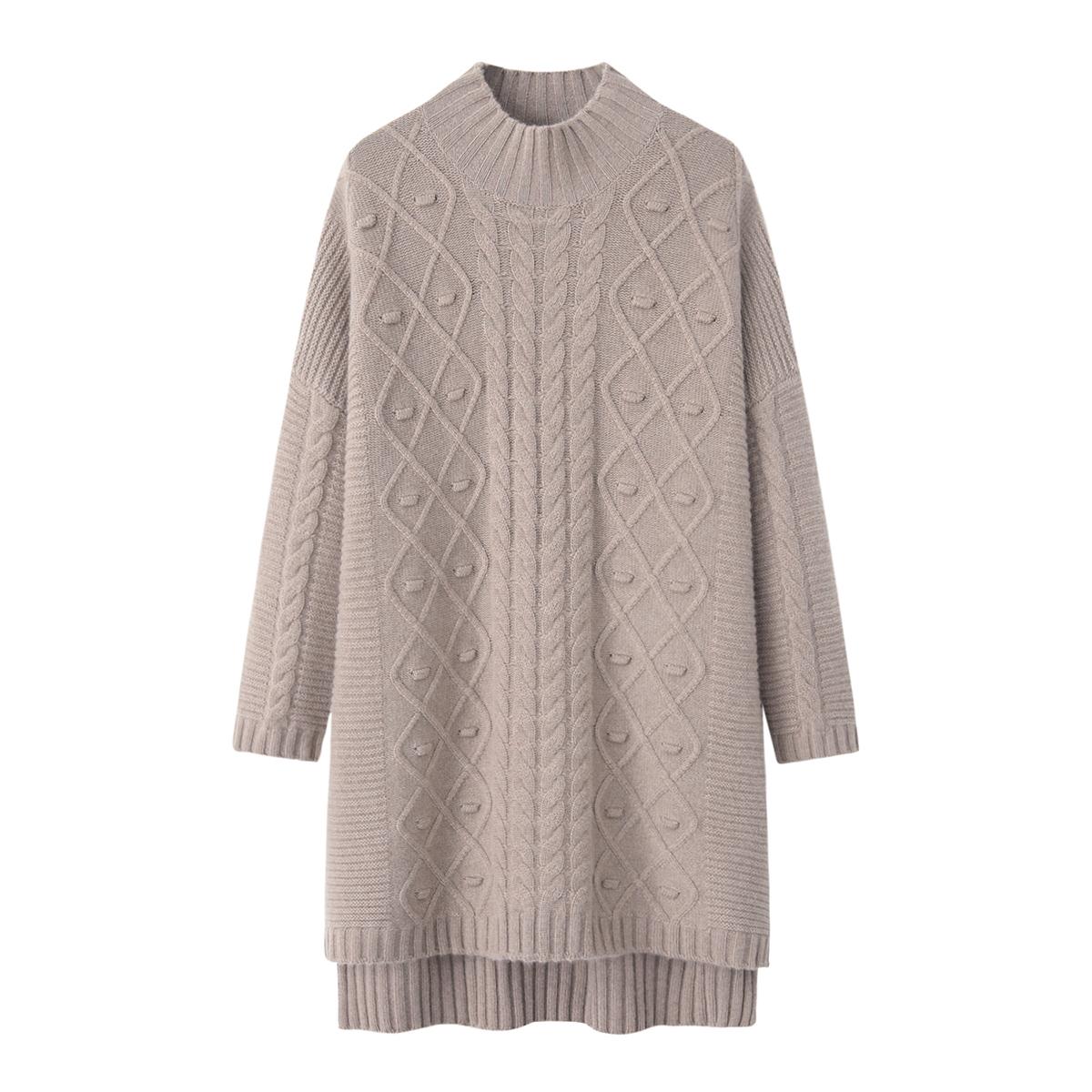 兴绒内蒙古羊绒衫女式半高领韩版宽松加厚中长款毛衣裙秋冬新款