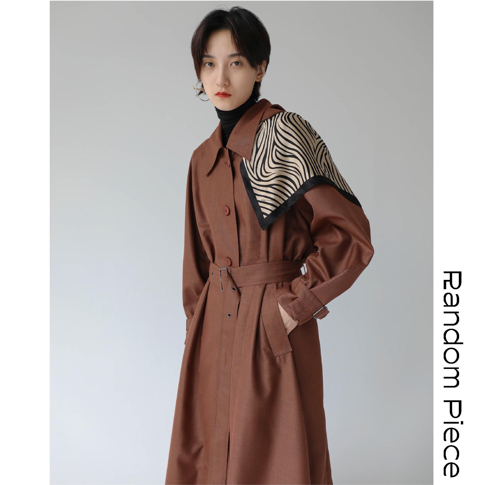 [RandomPiece2018FW] 高端色织 经典可拆卸连帽长款搭扣收腰风衣