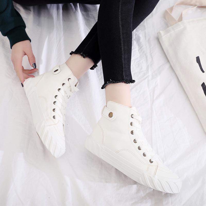白色高帮帆布鞋女新品评测