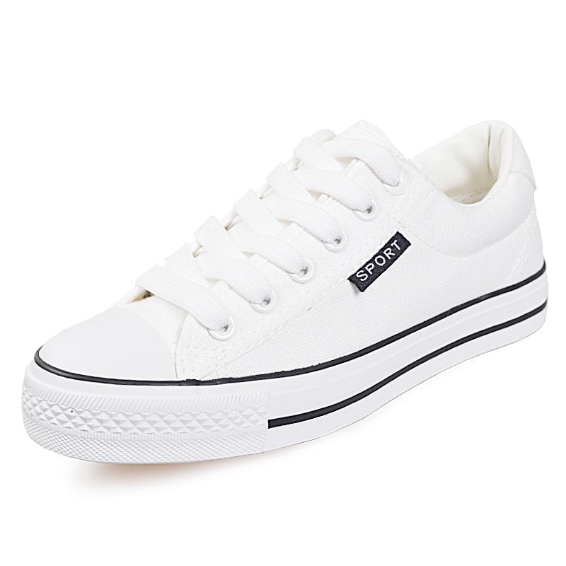 白色低幫帆布鞋女學生 秋球鞋男女鞋情侶鞋 鞋女平底單鞋子