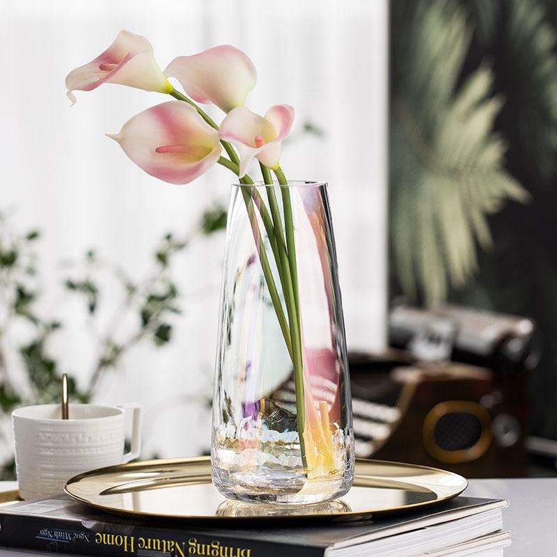轻奢北欧珠光色七彩花器玻璃花瓶