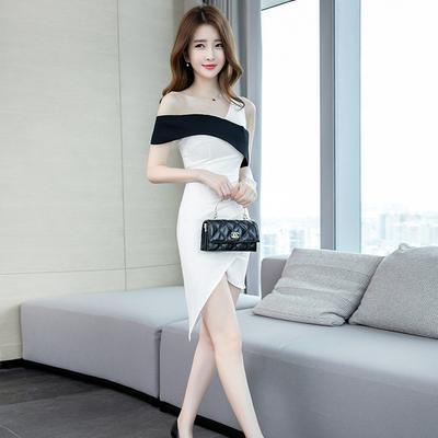 包臀连衣裙夏季2020年新款性感修身显瘦紧身小个短裙露肩女装裙子