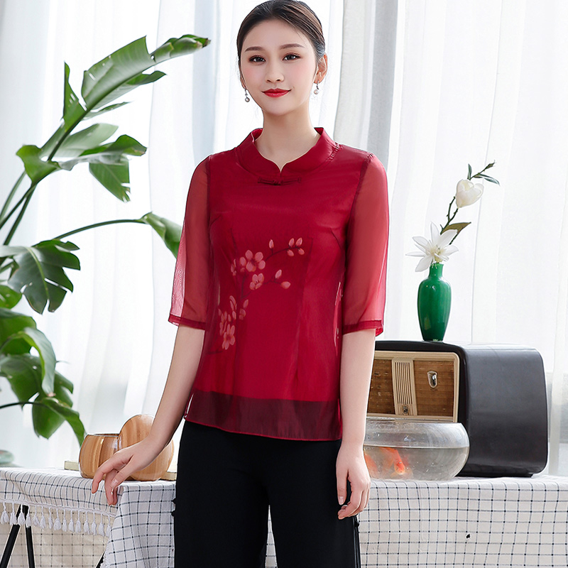 Chinese classic cheongsam tops improved fashion short slim tea costume women Chinese style