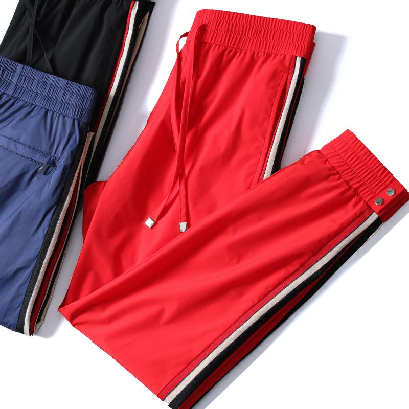 夏季新款速干束脚裤 三条杠丝滑薄款彩色运动九分裤 社会潮流男士