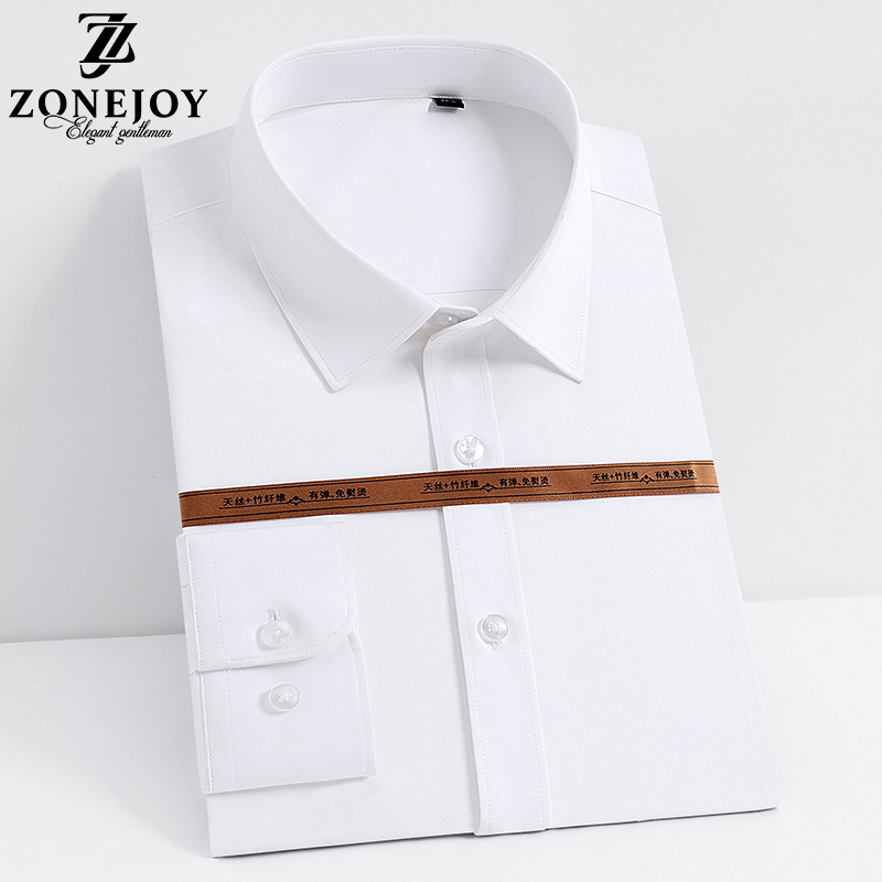 Zhuang Jue 2020 spring and summer new mens shirt solid color long sleeve handsome business dress professional work black and white shirt