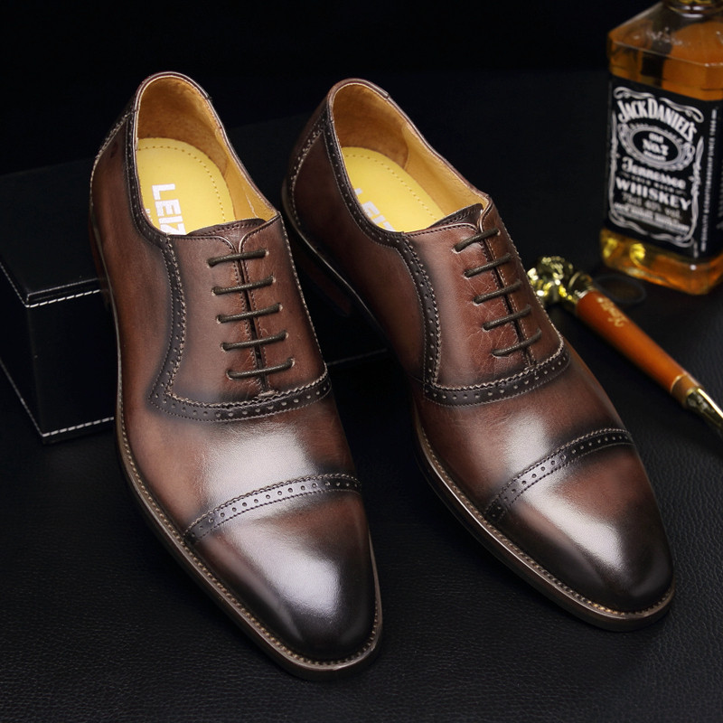 Leizhe autumn new fashion British round head sewing shoes mens formal leather shoes leather business suit Oxford Shoes