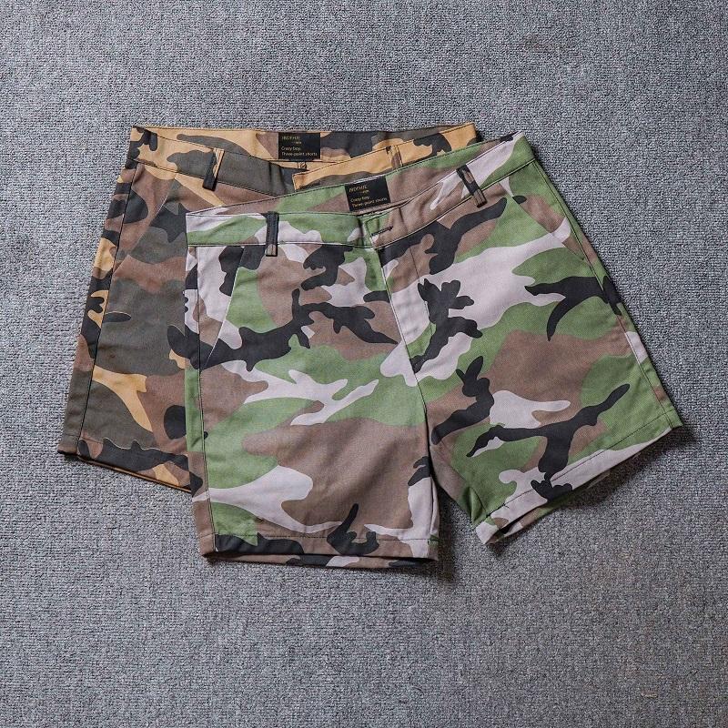 迷彩工装短裤男士潮牌夏季薄款三分四分裤修身直筒休闲3分4分热裤