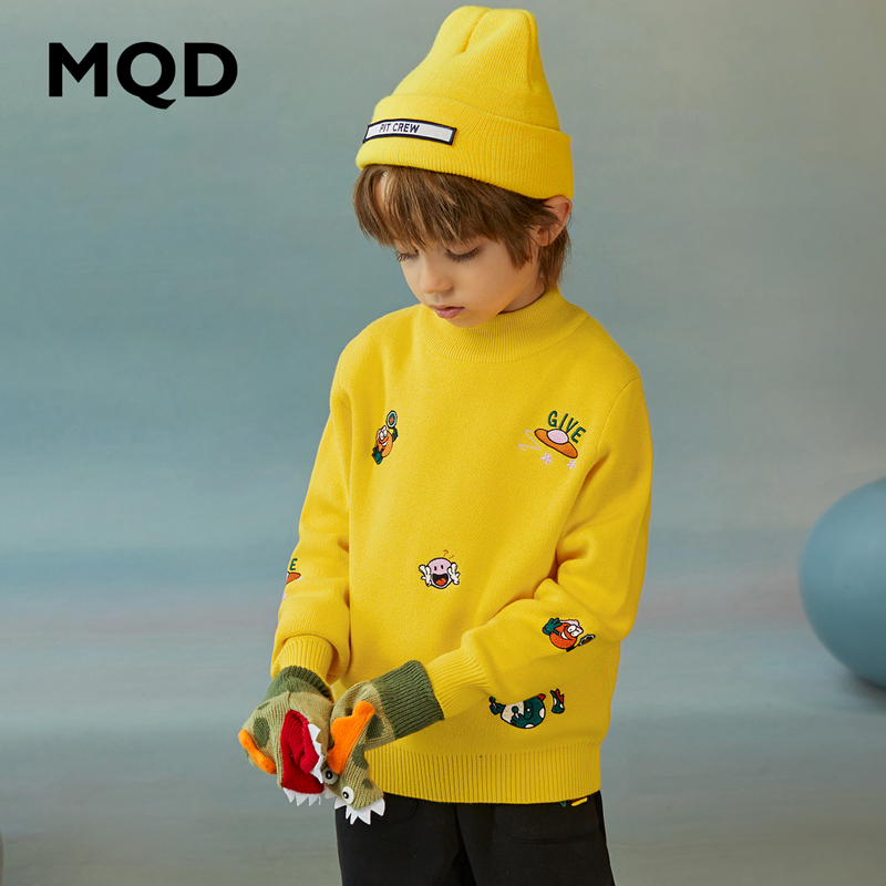 MQD children's clothing boys winter new sweater children's half high neck full version thick warm knitted pullover Western style