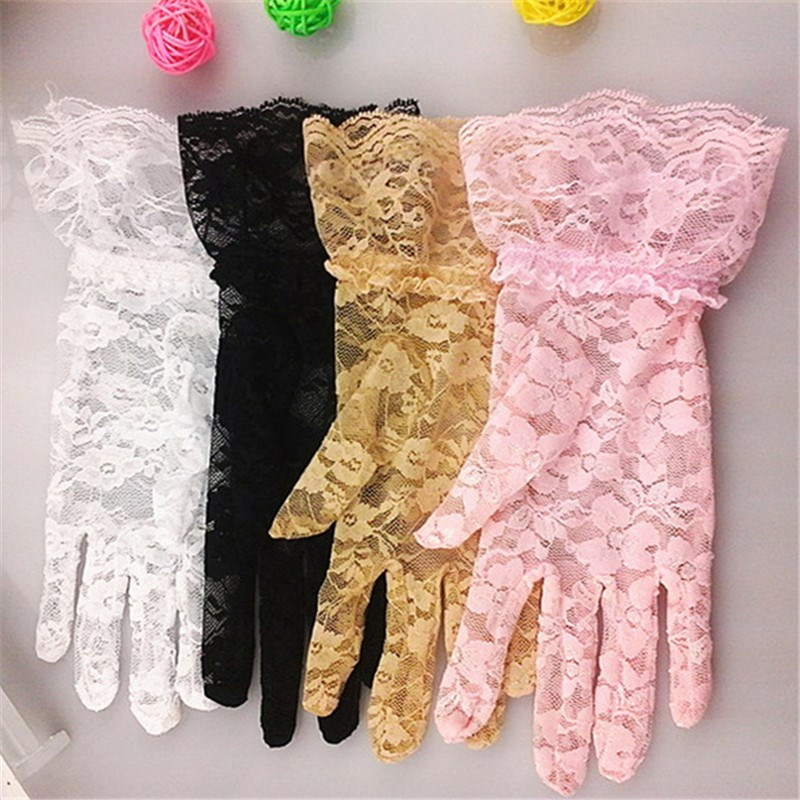 Summer driving sun proof gloves womens ice thin short summer lace breathable sunshade cycling UV protection