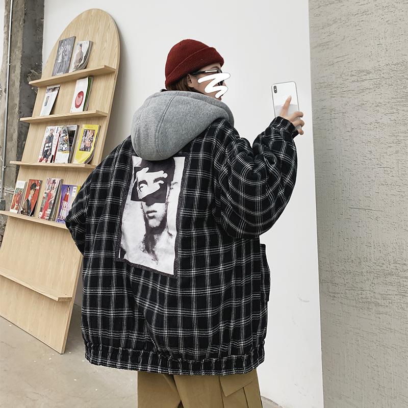 C062冬20新款中性休闲格子棉衣情侣闺蜜装外套连帽加厚A宽松P95