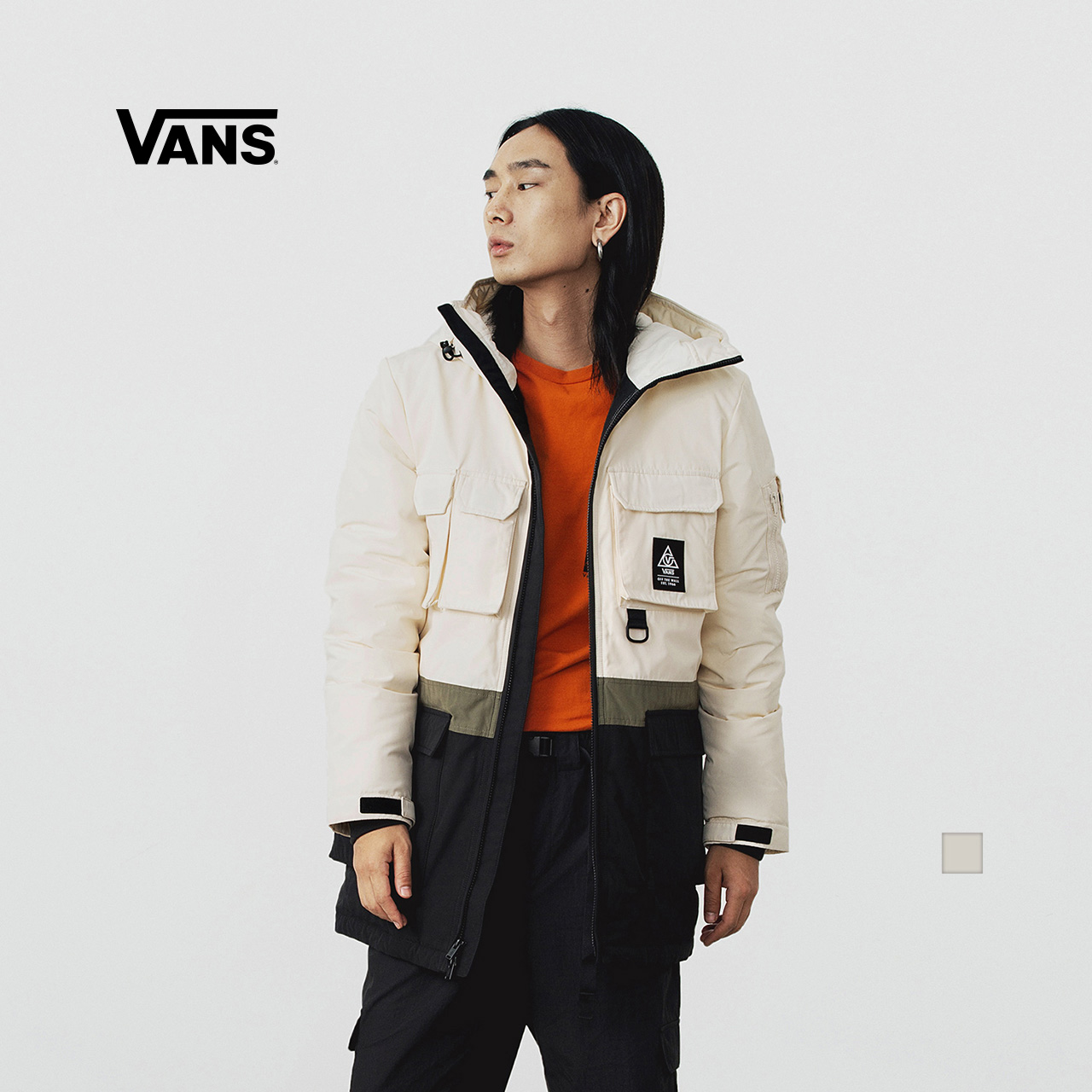 Vans Vans official white men and women couples winter warm down jacket jacket